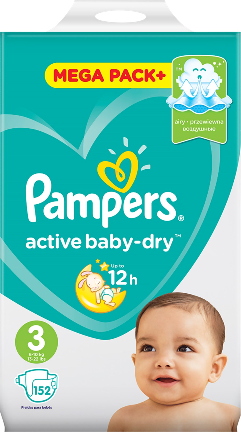 Подгузники PAMPERS Active baby-dry Midi 3 6-10кг
